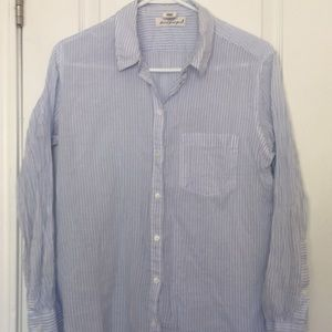 Blue and white striped lightweight shirt
